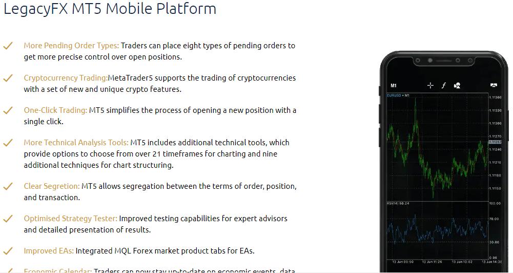LegacyFX MT5 Mobile Platform